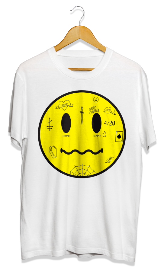 Wunderfund Smiley Face with tattoos t-shirt mock